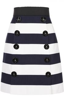 Мини-юбка в контрастную полоску с декоративными пуговицами Dolce & Gabbana