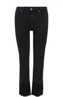 Укороченные расклешенные джинсы с бахромой Paige