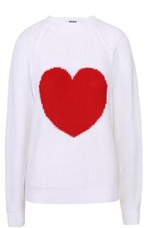 Пуловер прямого кроя с контрастным принтом в виде сердца MSGM