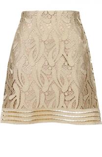 Мини-юбка с металлизированным кружевом No. 21