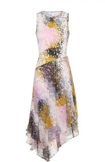 Шелковое платье асимметричного кроя с ярким принтом Diane Von Furstenberg