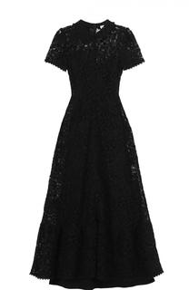 Приталенное кружевно платье-миди с коротким рукавом REDVALENTINO