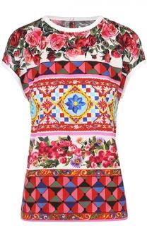Шелковый топ прямого кроя с ярким принтом Dolce & Gabbana