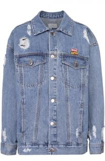 Джинсовая куртка с потертостями и контрастным принтом на спинке Steve J & Yoni P