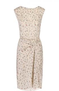 Шелковое платье с V-образным вырезом на спинке и цветочным принтом Isabel Marant