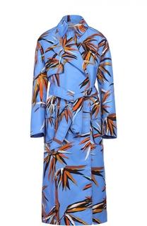 Пальто прямого кроя с ярким принтом и поясом Emilio Pucci