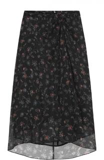 Шелковая юбка-миди с цветочным принтом и драпировкой Isabel Marant