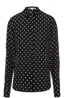 Шелковая блуза прямого кроя с контрастным принтом Stella McCartney