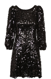 Мини-платье с пайетками и рукавом-фонарик Dolce & Gabbana