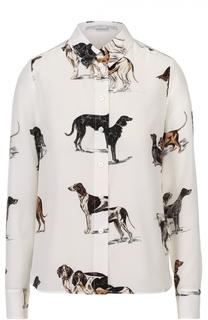 Шелковая блуза прямого кроя с принтом в виде собак Stella McCartney