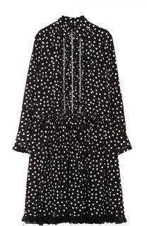 Шелковое платье-рубашка в горох с кружевной отделкой Dolce & Gabbana
