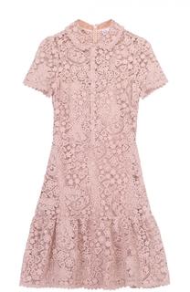 Приталенное кружевное мини-платье с оборкой REDVALENTINO