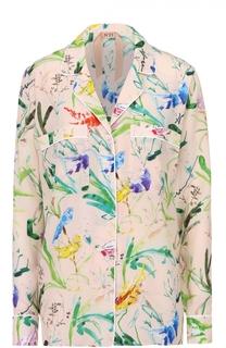 Шелковая блуза в пижамном стиле с цветочным принтом No. 21