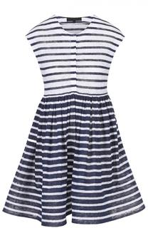 Мини-платье с завышенной талией в контрастную полоску Tegin