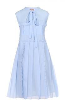 Мини-платье с завышенной талией и воротником-аскот No. 21