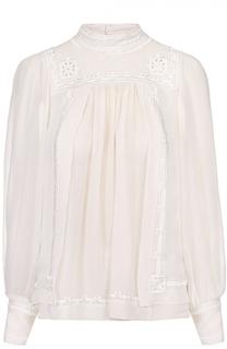 Шелковая блуза прямого кроя с воротником-стойкой Isabel Marant