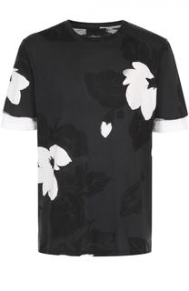 Хлопковая футболка с цветочным принтом и контрастной отделкой на рукавах 3.1 Phillip Lim