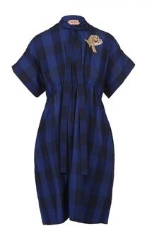 Платье в клетку с завышенной талией No. 21