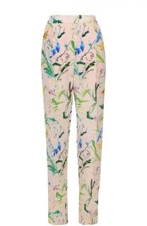 Шелковые брюки прямого кроя с цветочным принтом No. 21