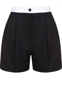 Мини-шорты с защипами и контрастным поясом Dolce & Gabbana