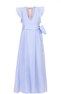 Хлопковое платье в полоску с завышенной талией No. 21