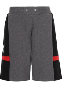 Хлопковые шорты свободного кроя с контрастной отделкой Givenchy
