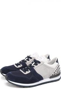 Замшевые кроссовки с текстильной вставкой Tod's Tods