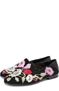 Замшевые лоферы с цветочной вышивкой Alexander McQueen