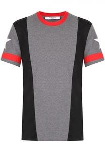 Хлопковая футболка с контрастной отделкой Givenchy