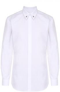 Хлопковая сорочка с декоративной отделкой воротника Givenchy