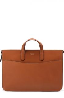Кожаный портфель на молнии с внешним карманом Bertoni