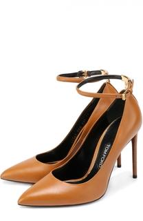 Кожаные туфли с ремешком на щиколотке Tom Ford