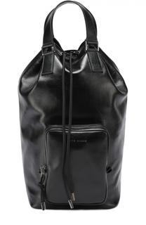 Кожаная сумка-шопер с внешним карманом на молнии Dior