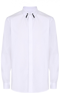 Хлопковая сорочка с контрастной вышивкой на воротнике Givenchy