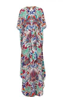 Шелковое платье-макси с ярким принтом Lazul