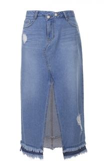 Джинсовая юбка-миди с бахромой и высоким разрезом Steve J & Yoni P