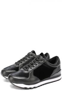 Кожаные кроссовки с вставками из текстиля DKNY