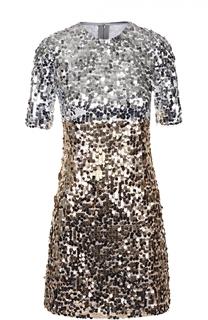 Приталенное мини-платье с пайетками Dolce & Gabbana