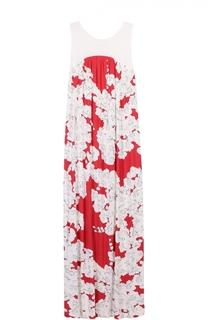 Платье-макси без рукавов с цветочным принтом Escada Sport