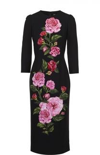 Облегающее платье с укороченным рукавом и цветочным принтом Dolce & Gabbana