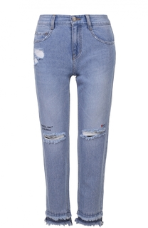 Укороченные джинсы с бахромой и потертостями Steve J & Yoni P