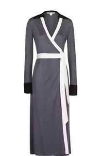 Платье-миди с запахом и контрастной отделкой Diane Von Furstenberg
