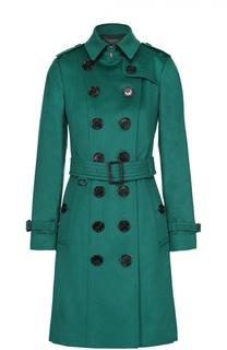 Кашемировое двубортное пальто с поясом Burberry