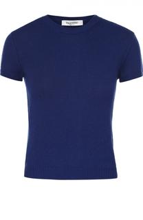 Кашемировый пуловер с коротким рукавом и круглым вырезом Valentino