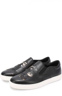 Кожаные слипоны London с аппликацией Dolce & Gabbana