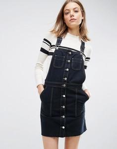 Черное джинсовое платье-комбинезон на пуговицах с необработанным краем ASOS - Черный