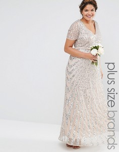 Платье макси с отделкой пайетками Lovedrobe Luxe - Бежевый