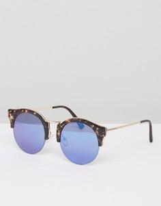 Круглые солнцезащитные очки в черепаховой полуоправе с синими стеклами ASOS - Коричневый