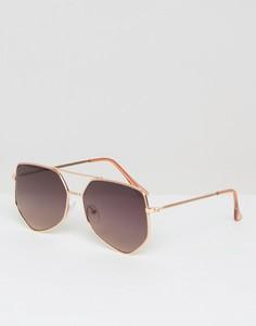 Очки-авиаторы с металлической оправой цвета розового золота ASOS - Золотой