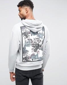 Серое худи с цветочным принтом на спине ASOS - Серый